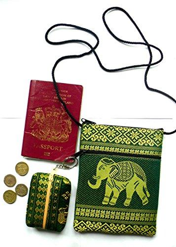 Verde e Oro Elefante passaporto Borsa a tracolla con portamonete