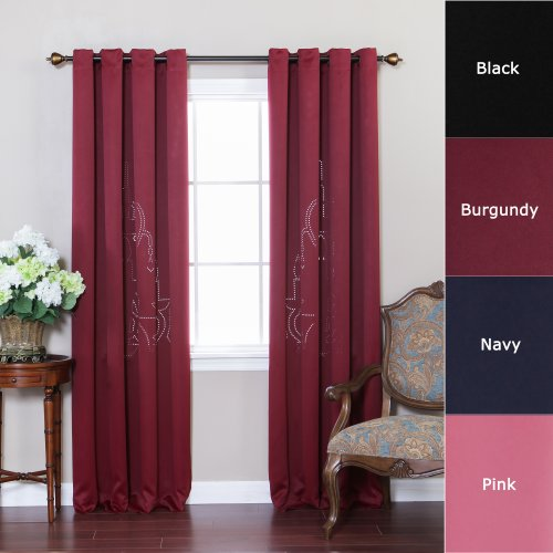 Best Home Fashion ChandelierPunchOut Print Thermal Insulated Blackout Curtains – Antique Bronze Grommet Top – Burgundy – 52″W x 84″L – (Set of 2 Panels)
