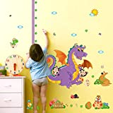 EMIRACLEZE Christmas Gift Wall Stickers Measuring Animals Dinosaur Removable Mural Wall Decal for Children Kids Room Nursery Wall Decoration