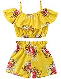 fb833317632e Toddler Kids Baby Girl Floral Halter Ruffled Outfits Clothes Tops+Shorts  2PCS Set
