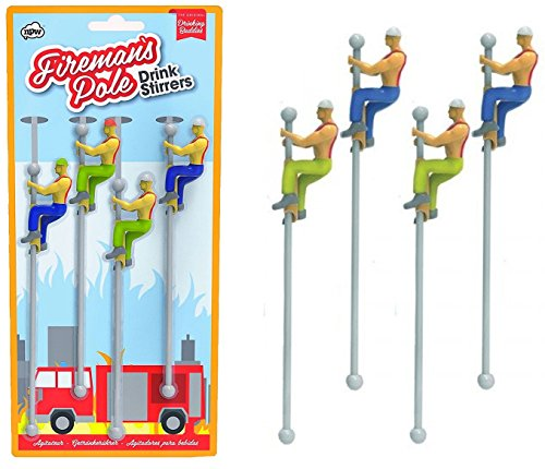 WeeZ Industries Bundle - Two Packs - Firefighter Sliding Down Pole Fireman Buddies Drink Stirrers Swizzle Sticks by WeeZ Industries