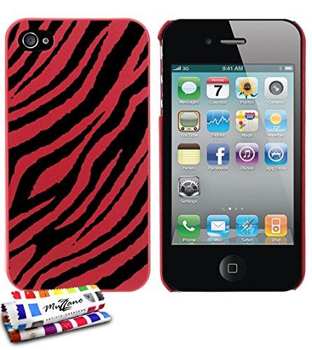 Ultraflache weiche Schutzhülle APPLE IPHONE 4 [Zebrastreifen] [Rot] von MUZZANO + STIFT und MICROFASERTUCH MUZZANO® GRATIS - Das ULTIMATIVE, ELEGANTE UND LANGLEBIGE Schutz-Case für Ihr APPLE IPHONE 4