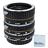 Auto-Focus Macro Extension Tube Set for Nikon D300, D300S, D600, D700, D800, D800E, D3000, D3100, D3200, D5000, D5100, D5200, D5300, D7000, D7100 DSLR Camera & an eCostConnection Microfiber Cloth