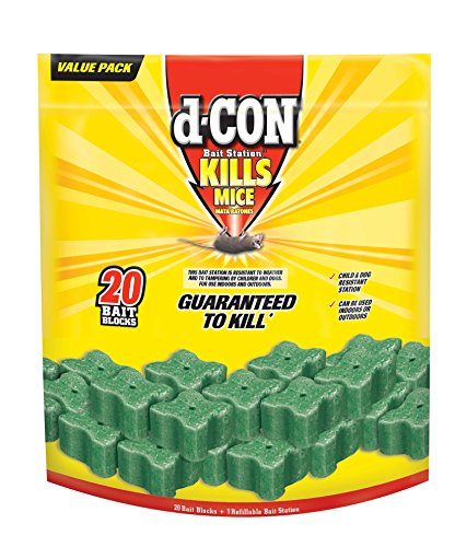 D-Con Refillable Corner Fit Mice Bait Station, 1 Trap + 20 Bait Refills (Best Poison To Kill Mice)