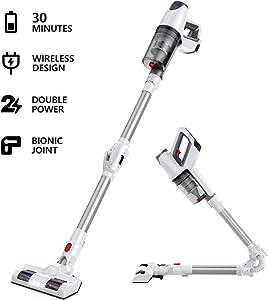Cordless Vacuum,LKJ 5 in 1 vCordless Vacuum, Rechargeable Stick Vacuum Cleaner and Handheld Vacuum, 180 Foldable Joint for Carpet, Hardwood Floor, Pet Hair