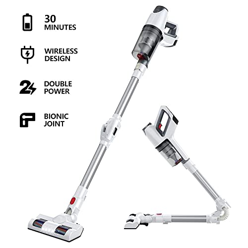 Cordless Vacuum,LKJ 5 in 1 vCordless Vacuum, Rechargeable Stick Vacuum Cleaner and Handheld Vacuum, 180 Foldable Joint for Carpet, Hardwood Floor, Pet Hair and More