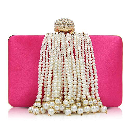 Borsa Da Donna A Forma Di Pochette Da Donna Con Frange Di Perle E Perle,1 5