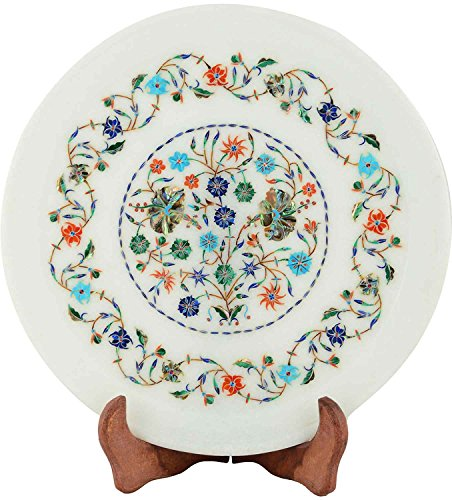 DME Marble Inlay Plate  28 cms X 28 cms, White