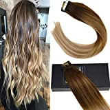 Sunny 18inch Tape in Human Hair Extensions Platinum Blonde Ombre #4 to #27 mixed #60 Blonde Balayage Skin Weft Human Hair Tape in Extensions 20pcs 50g