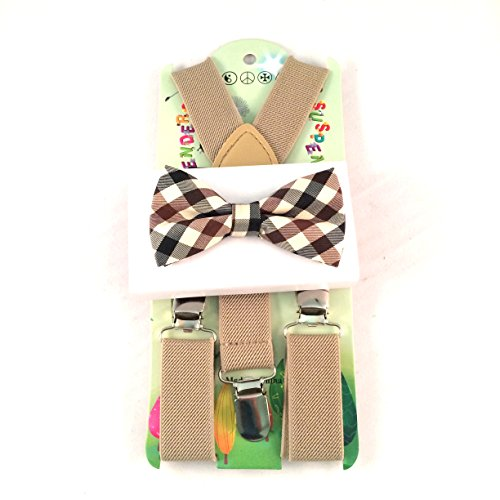 Baby Toddler Kids Children Boys Girls Tan Suspender & Plaid Bow Tie Set