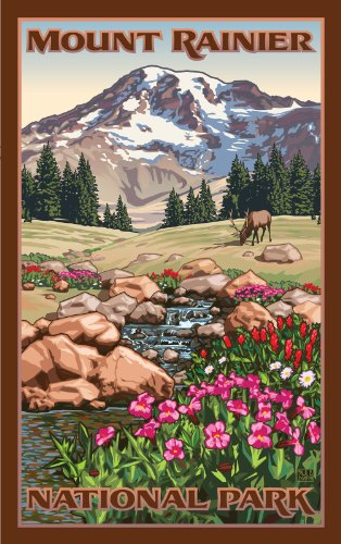 Northwest Art Mall Mount Rainier National Park Elk in Meadow Unframed Poster Print by Paul B Leighton, 11-Inch by - The Mall Meadows
