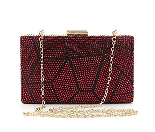 Crystal Clutch Women Handbag Evening Clutch for Multicolored Cocktail Purses Red Rhinestone Eq7X17wx4