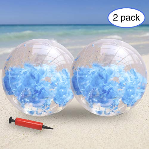 KOMIWOO Inflatable Beach Ball-Glitter Beach Balls Kids, Filled with Feathers Pool Toys for Summer Party Favors (2packs,24 inch) (Blue)]()