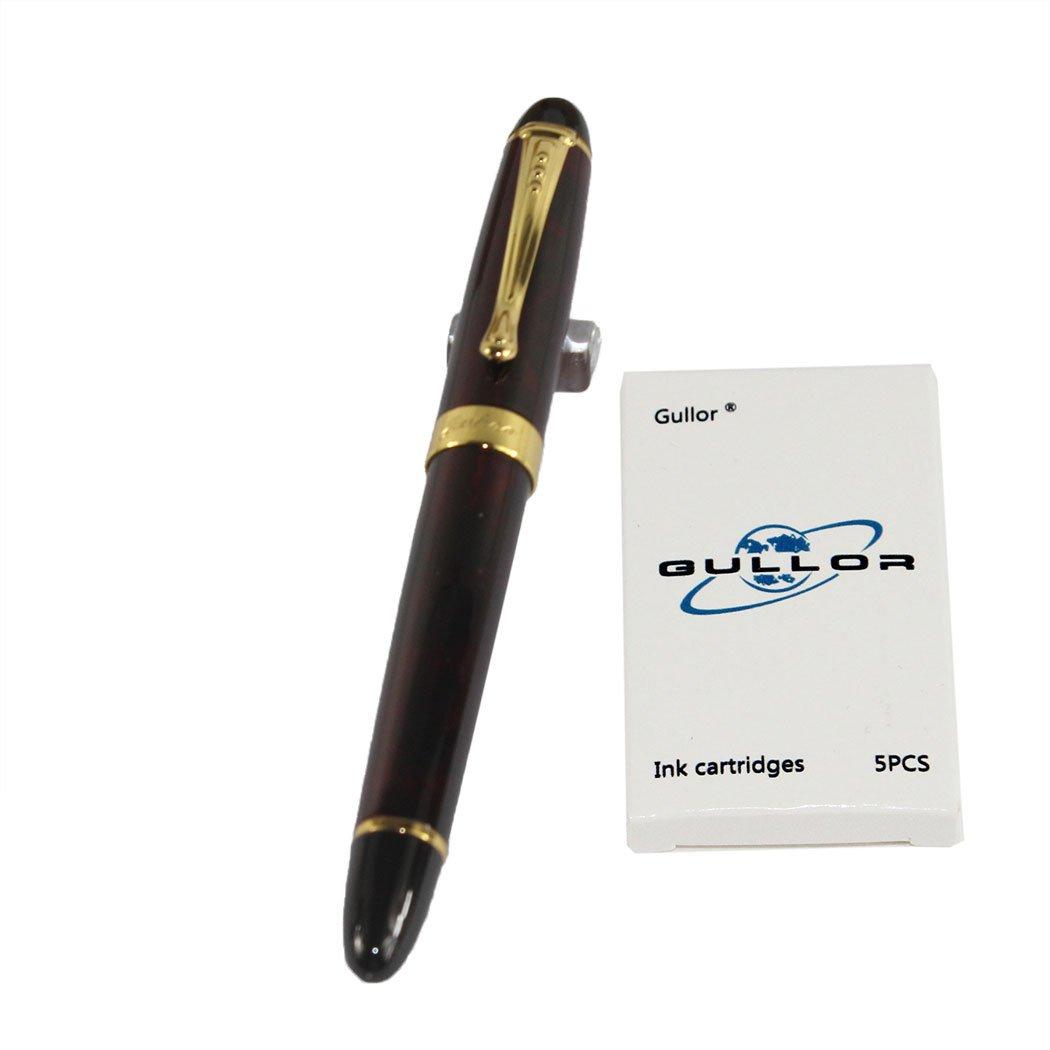 Jinhao 450 normal plumilla la estilogr/¨/¢fica azul oscuro con 5 cartuchos de tinta de color Gullor