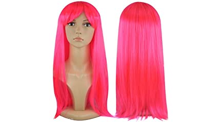 Peluca larga recta para mujer Vestido de Lujo Cosplay Wigs POP Party Costume (Rosa neón