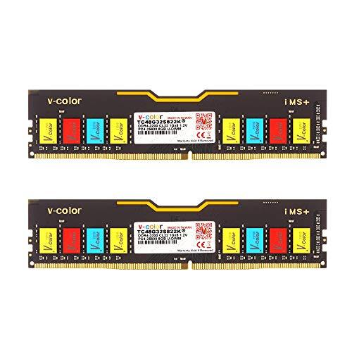 V-Color 16GB (2x8GB) DDR4 DRAM 3200MHz (PC4-25600) CL22 1.2V Colorful U-DIMM Desktop Memory (TC48G32S822K)