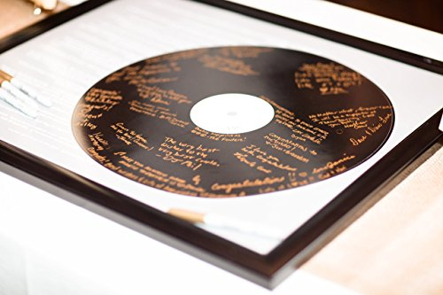 (Realistic Record Wedding Song Guest Book Alternative -First Dance Lyrics - Couples Shower Guestbook - Vinyl Record Guest Book Print - You Provide Song Lyrics - Unframed -20x24 - Approx. 50-100 Sigs)