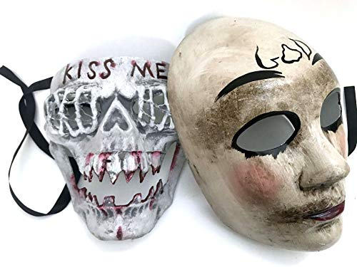 MASQSTUDIO The Purge GOD KISS ME Mask Pair Anarchy Purge Men and Women Boys Girls Horror Purge Killer Masked Men Halloween Costume Party