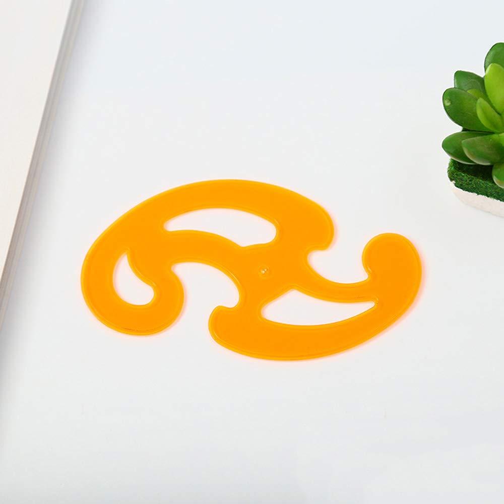 Ogquaton 3 Pieces Plastic Cloud Shape Ruler Curve Ruler Inking Edges Drafting Drawing Ellipse Template Curve Ruler Craft Supplies Orange