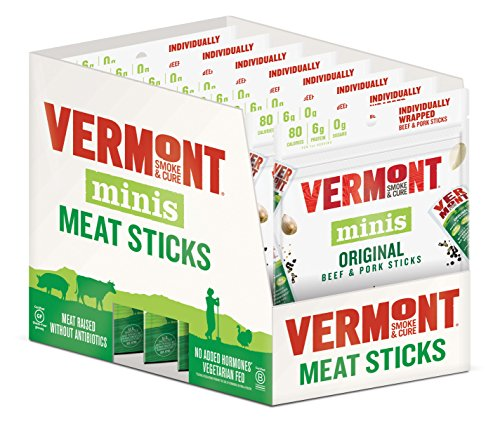 Vermont Smoke & Cure Mini Jerky Stick Go Packs, Beef & Pork, Antibiotic Free, Gluten Free, Original, 0.5oz Meat Sticks, 3 Ounces Per Pouch, Pack of 8 Pouches made in New England