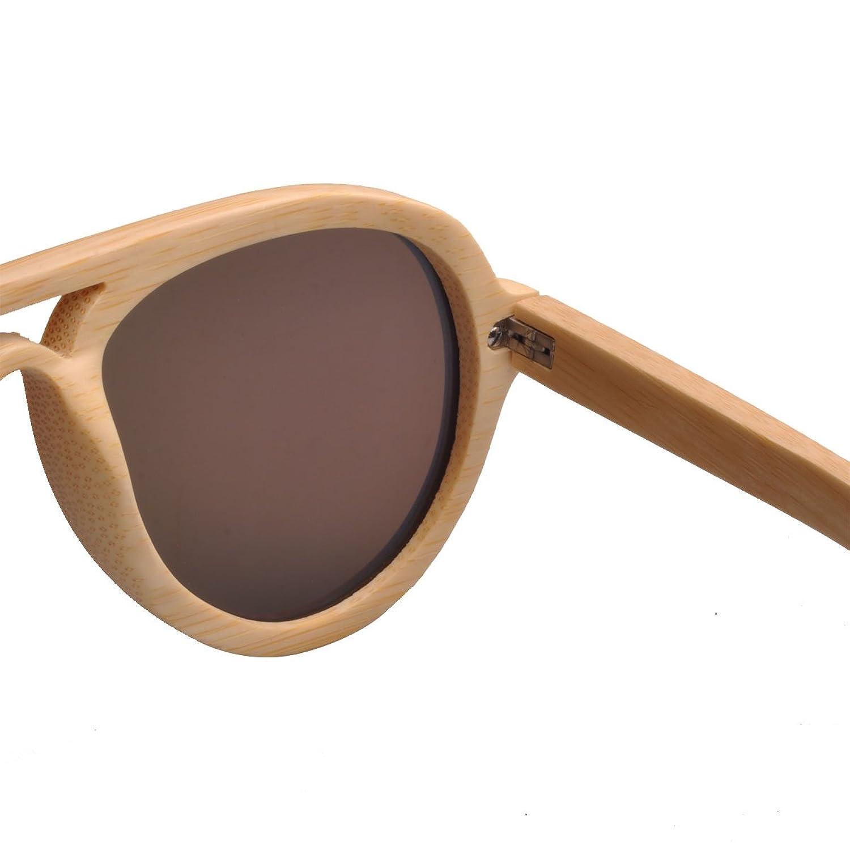 Iwood Handmade Natural Bamboo Frames Polarized Blue Lens Wooden Sunglasses