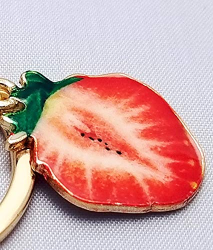 Backpack Charm Key ring Enamel Strawberry Keychain