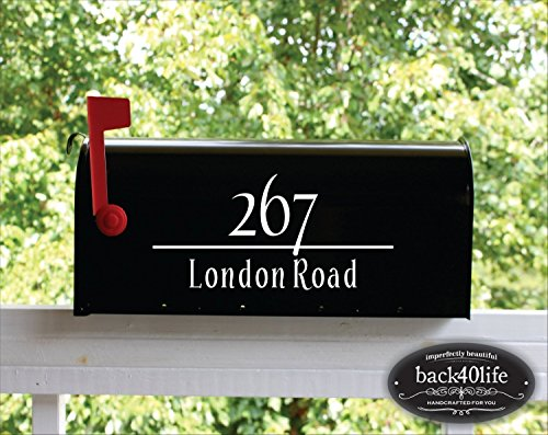 Back40Life | Mailbox Numbers Street Address Vinyl Decal (E-004c)