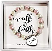 Baptism gift for girls, Faith Jewelry, Beautiful Pink and White Faux Pearls with, LDS Catholic Christian-All O