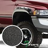 """Topline Autopart Sandblast Black Pocket Rivet Style 4Pc Fender Flares Kit Driver Passenger Wheel Cover 94-02 Dodge Ram 1500 2500 3500 6.5Ft 8Ft 78"""" 96"""" Fleetside Long Bed"""