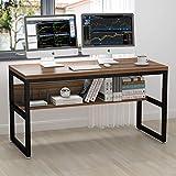 ELEGANT 55' Computer Desk with Bookshelf/Metal Desk(Oak Brown+Black Frame)
