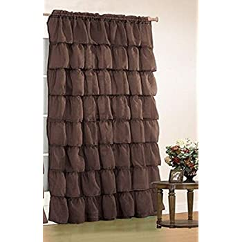 Orlys Dream Gypsy Crushed Ruffled Sheer/Voile 1 Curtain Panel - 55 Inch Width By 84 Inch Length (Coffee Brown)