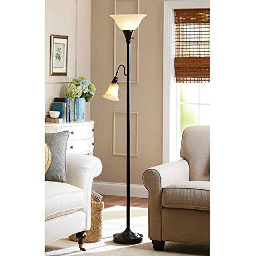 Light Oval Bowl Chandelier (Floor Lamp with 3 Way Lighting and Task Lamp For Living Room Reading Corner Bronze Finish)