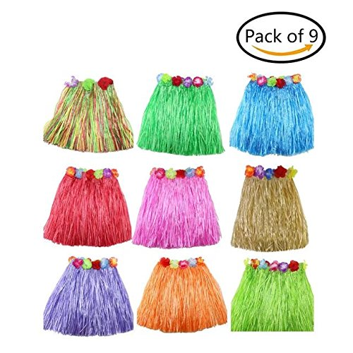 SUSHAFEN Pack of 9 Pcs Assorted Color Hawaiian Hula Grass Skirts Floral Leis Costume for Kids ,40 CM,Randomly Style