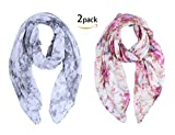 Fashion Scarf for Women 2 Pack Lightweight Scarves Floral Print Oblong Shawl Scarf for Women
