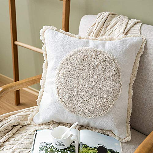 HMKEY TOYS Decorative Throw Pillow Cover Big Circle Tufted Pillow Case Boho Cushion Cover for Couch Sofa Car Bedroom Decor,18 x 18 Inch,Cream White(Cover Only,No Insert) ()