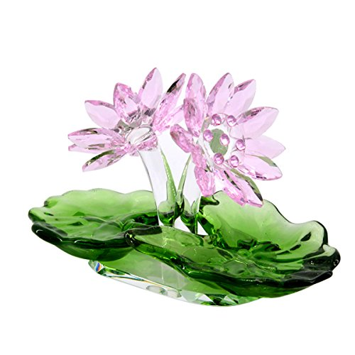 Lotus Blossom Crystal - LONGWIN Crystal Lotus Flower Figurine Glass Home Decor Ornaments Paperweight