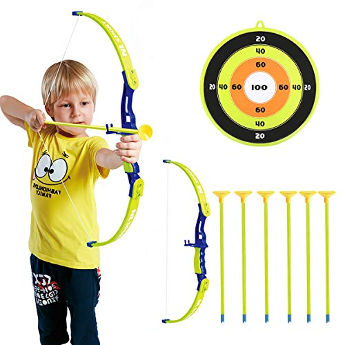 Conthfut Archery Set Kids Green Bow and Arrow Play Toy, Outdoor Hunting Game with 6 Suction Cup Arrows, Target for Boys and Girls