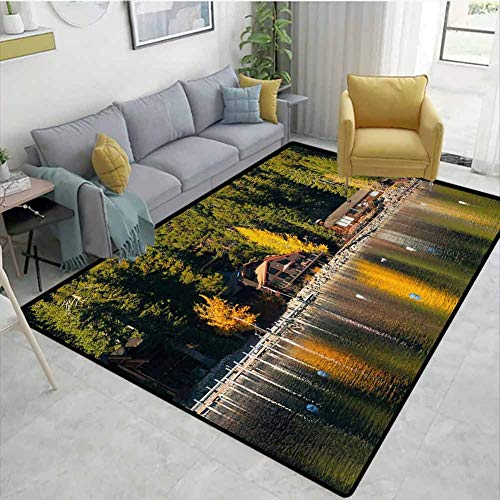 Lake Tahoe Non Slip Rugs Carnelian Bay Photography Log Cabin in The Woods Holiday Destination Lakeside Anti-Static W67 x L78 Multicolor