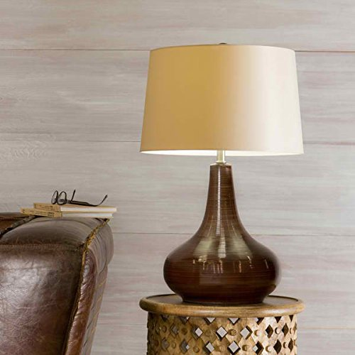Table Lamp / Desk Lamp, Contemporary/Casual Emi Gourd Ceramic 1-light Chocolate Table Lamp , 26'' high x 17'' wide x 17'' deep