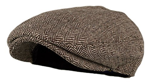 Men's Classic Herringbone Tweed Wool Blend Newsboy Ivy Hat (Brown, LXL) (Brown Driving Cap)