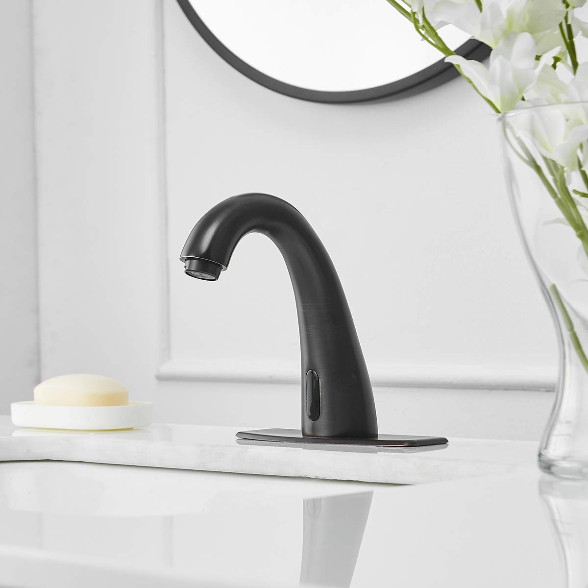 Greenspring Commercial Touch-Free Faucet Automatic Sensor Bathroom Sink Faucet Hot Cold Mixer Faucet Just use battery,Brushed Nickel
