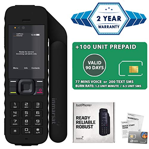 2019 Unlocked IsatPhone 2.1 Satellite Phone with 100 Unit Prepaid SIM Card (77 Minutes/Valid 90 Days) - Voice, SMS, GPS Tracking, Emergency SOS Global Coverage - Water Resistant