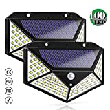 Solar Lights Outdoor, Solar Powered Motion Sensor Lights 100 LEDs Outdoor Waterproof Wall Light Night Light with 3 Modes with 270° Wide Angle for Garden, Patio Yard, Deck Garage, Fence - 2 Pack