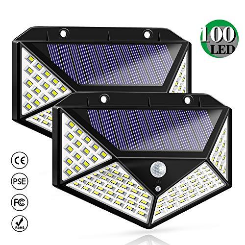 Solar Lights Outdoor, Solar Powered Motion Sensor Lights 100 LEDs Outdoor Waterproof Wall Light Night Light with 3 Modes with 270° Wide Angle for Garden, Patio Yard, Deck Garage, Fence - 2 Pack ()