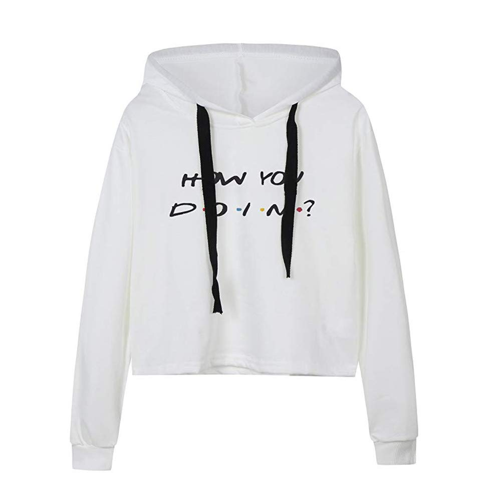 Rambling Women's Pullover Hoodie Hooded Sweatshirt Long Sleeve Casual Top Blouse Fashion Style, How You Doin Letter Print
