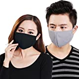 Cloth Face Mask 3 Pcs Unisex Dust Allergy Flu Masks Washable Activated Carbon Cotton Breath Healthy Safety Respirator Warm Ski Cycling Half Face Mouth Masks Filters Dust Pollen Allergens Flu Germs Home Surgical Masks