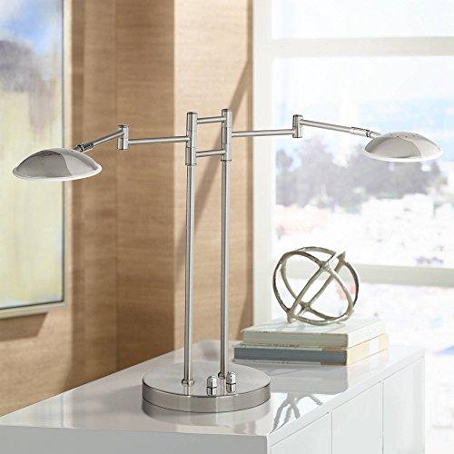 (Journey Modern Swing Arm Desk Table Lamp 2 Light LED Satin Nickel Swivel Head Dimmer Switch for Reading Bedroom Bedside Nightstand Office - Possini Euro Design)