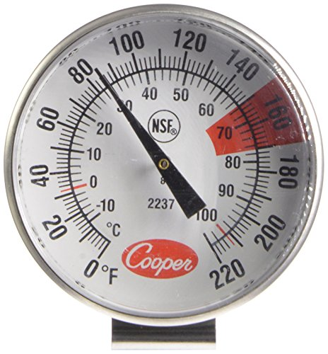 Cooper-Atkins 2237-04-8 Stainless Steel Bi-Metal Espresso Milk Frothing Thermometer, -10 to 104°C
