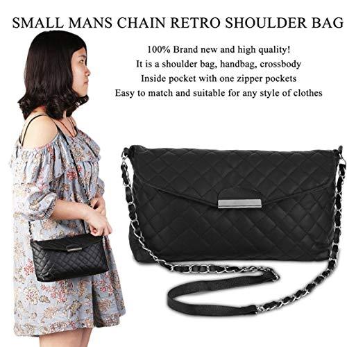 de embrague Clásico bolso cadena UniqueHeart de bolso Crossbody hombro la pequeño las mujeres bolso bolso de de de manera bolso mensajero Black PU pequeño cuero de de de la de 6xddBwqO