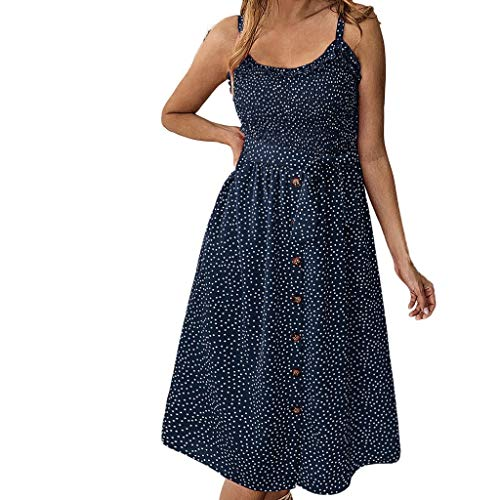 (Fitfulvan Women's Dress Spring and Summer Fashion Casual Print Polka Dot Ruffled Buttoned Dress(Blue,Asian M = US S))